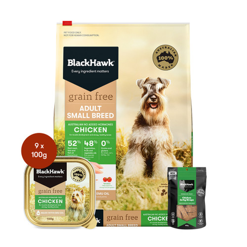 Black Hawk Adult Small Breed Chicken Grain Free Dog Food & Treats Bundle