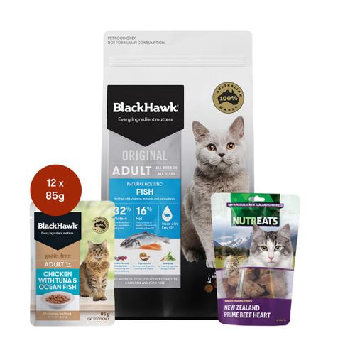 Black Hawk Adult Fish Cat Food & Treats Bundle