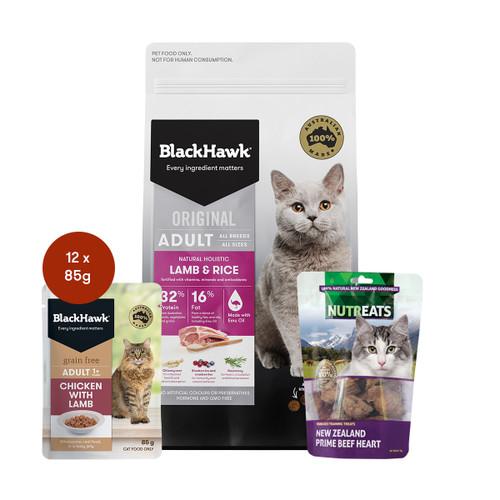 Black Hawk Adult Lamb Cat Food & Treats Bundle