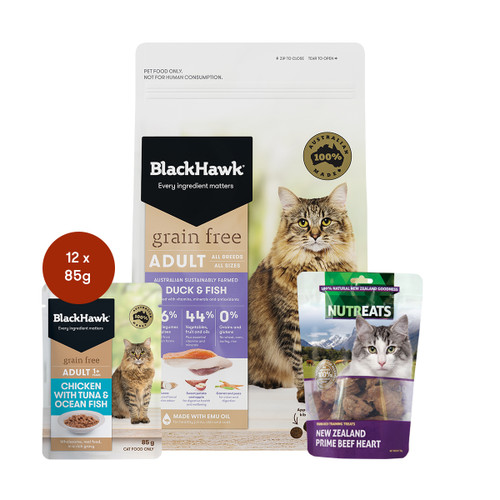 Black Hawk Adult Duck & Fish Grain Free Cat Food & Treats Bundle