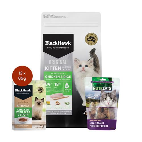 Black Hawk Kitten Chicken Cat Food & Treats Bundle