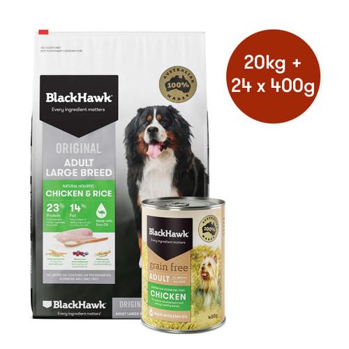 Black Hawk Adult Large Breed Chicken Dry + Wet Dog Food Bundle