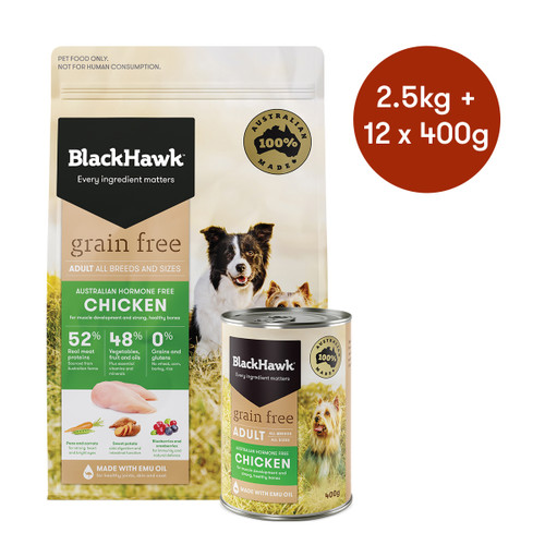 Black Hawk Adult Chicken Grain Free Dry + Wet Dog Food Bundle