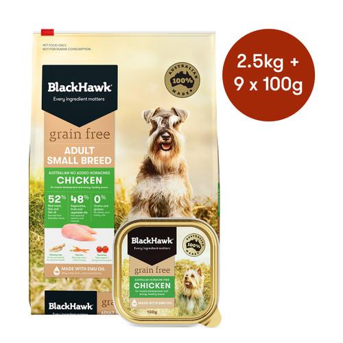 Black Hawk Adult Small Breed Chicken Grain Free Dry + Wet Dog Food Bundle