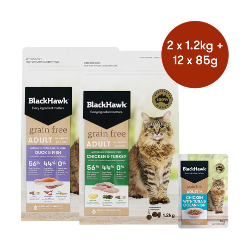 Black Hawk Adult Grain Free Mixed Flavours Wet & Dry Cat Food Bundle