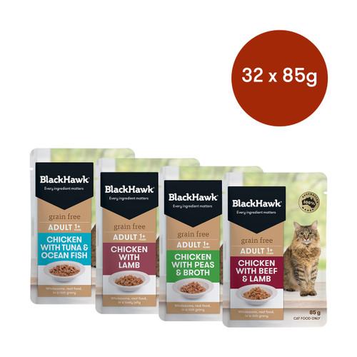 Black Hawk Grain Free Adult Mixed Flavours 32 Wet Cat Food Bundle