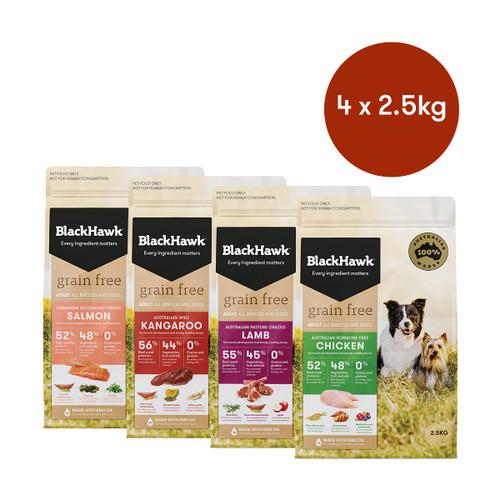 Black Hawk Adult Grain Free Mixed Flavours Dry Dog Food Bundle