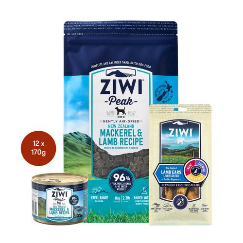 Ziwi Air Dried Mackerel & Lamb Dog Food & Treats Bundle