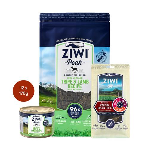 Ziwi Air Dried Tripe & Lamb Dog Food & Treats Bundle
