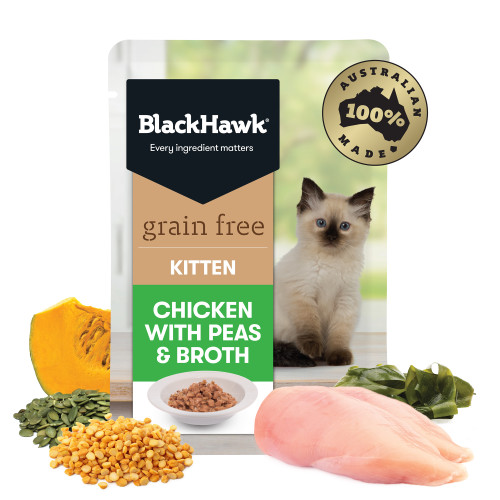 Black Hawk Grain Free Kitten Chicken with Peas & Broth Wet Cat Food