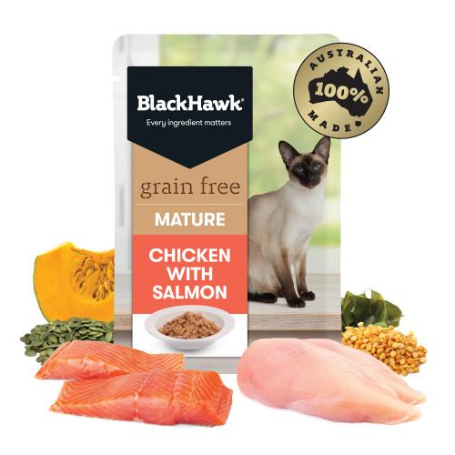 Black Hawk Mature Chicken with Salmon Wet Cat Food
