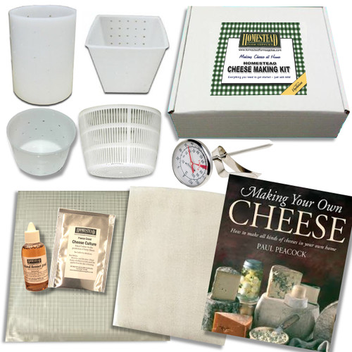 Homestead Cheese Making Kit  with 4 Moulds Plus Book 'Making Your Own Cheese' by Paul Peacock