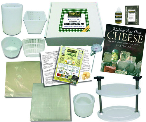 Homestead Cheese Making Kit with 5 Moulds Plus Book & Cheese Press for Hard & Soft Cheese