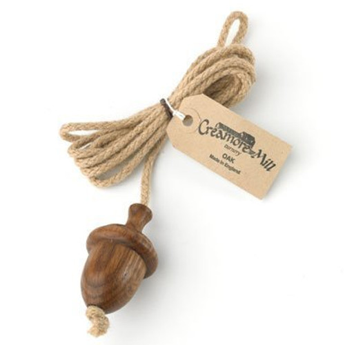 Creamore Mill Acorn Light Pull - oiled oak and natural jute