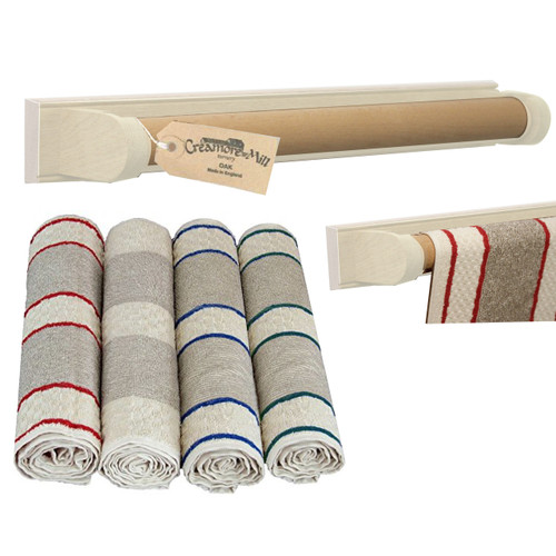 Creamore Mill Cream & Oak Roller Towel Rail PLUS Towel