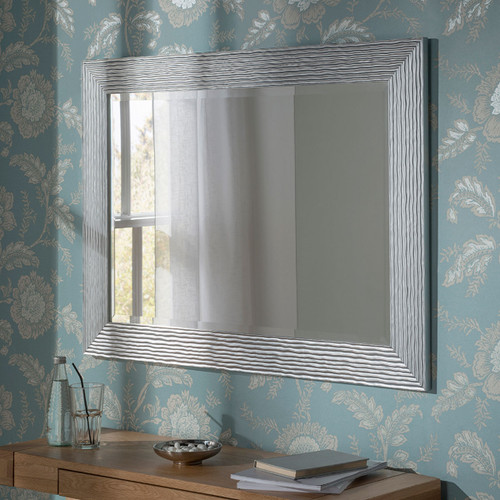 YG 223 Silver contemporary wavy frame mirror, by YG. Available now from Countrystyle Interiors.