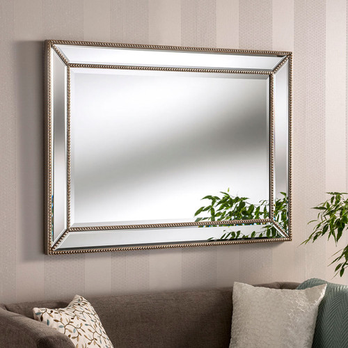 C/S Silver beaded venetian style mirror 42 x 31, by C/S. Available now from Countrystyle Interiors.