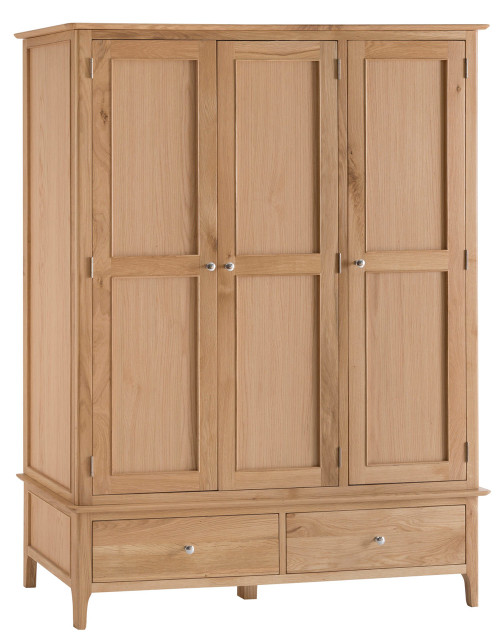 Danish style oak 3 door Wardrobe, by Countrystyle. Available now from Countrystyle Interiors.