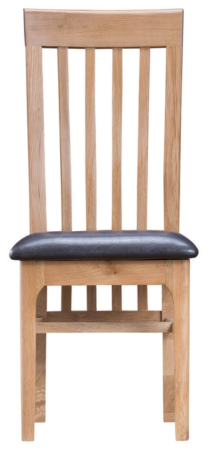 Danish style slat dining chair with faux leather seat pad, by Countrystyle. Available now from Countrystyle Interiors.