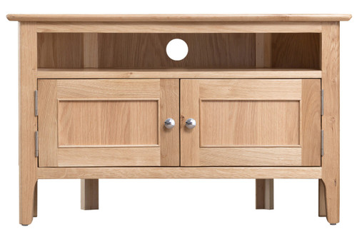 Danish style oak corner TV cabinet, by Countrystyle. Available now from Countrystyle Interiors.