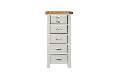 Annecy tall 5 drawer narrow chest, by Countrystyle. Available now from Countrystyle Interiors.