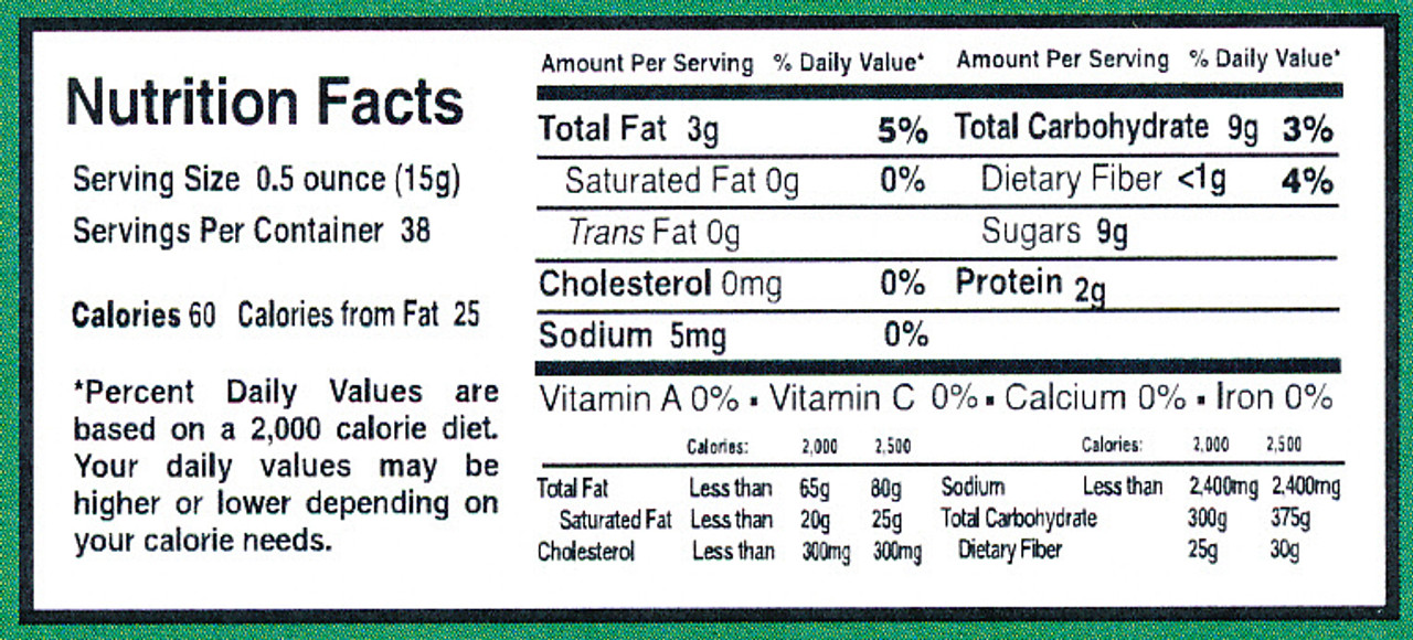 Here is our Nutritional Label