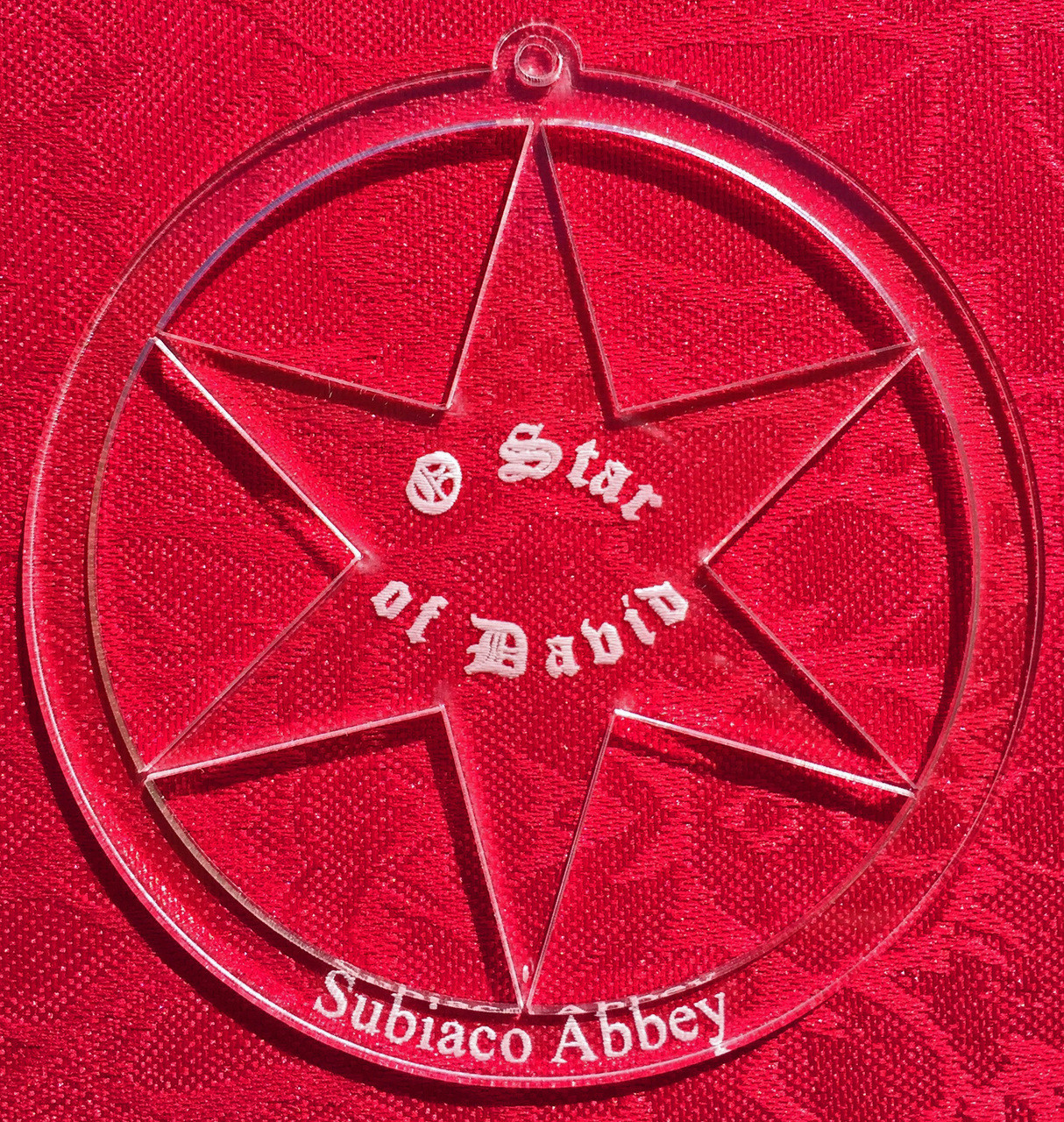 Star of David-3 inch diameter-a representation of strength, the star is scripted with 'O Star of David' and includes Subiaco Abbey lettering on the bottom of this circular ornament