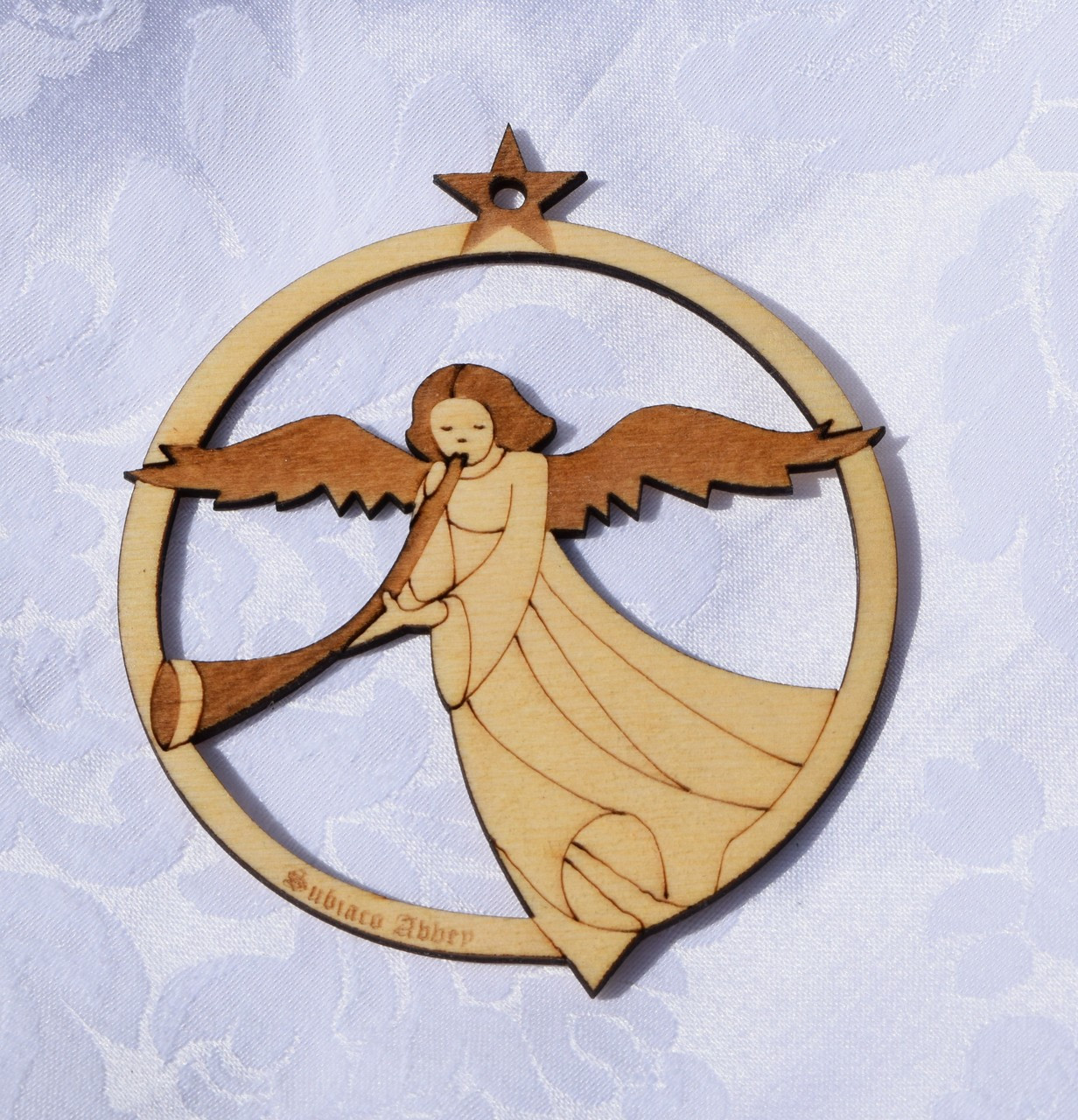Wooden Ornament: Angel with a Trumpet