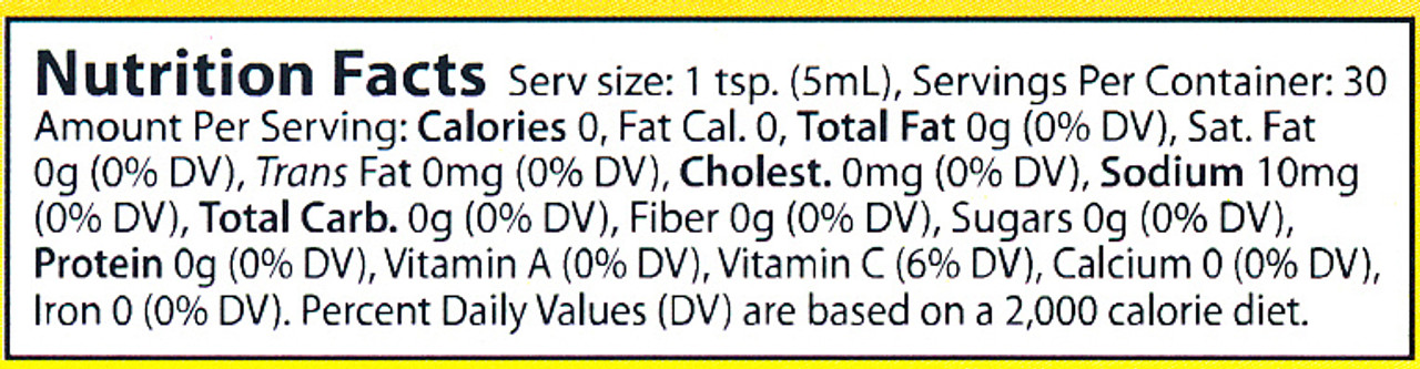 Here is our Green Sauce nutritional label.