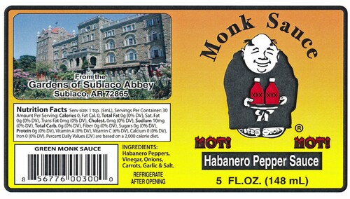 Here is our Green Sauce label.
