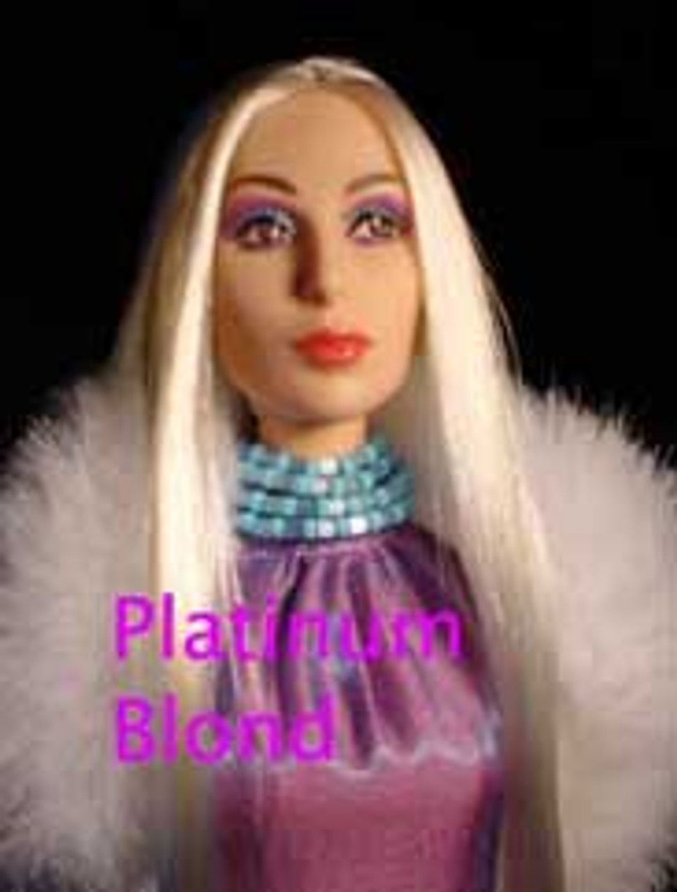 Platinum Blond 17 KatSilk Saran Doll Hair