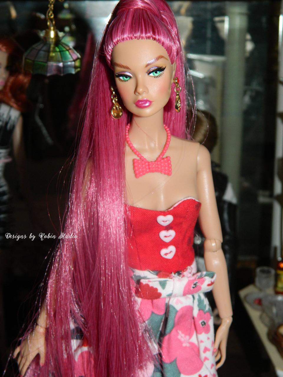 Cranberry 80 KatSilk Saran Doll Hair