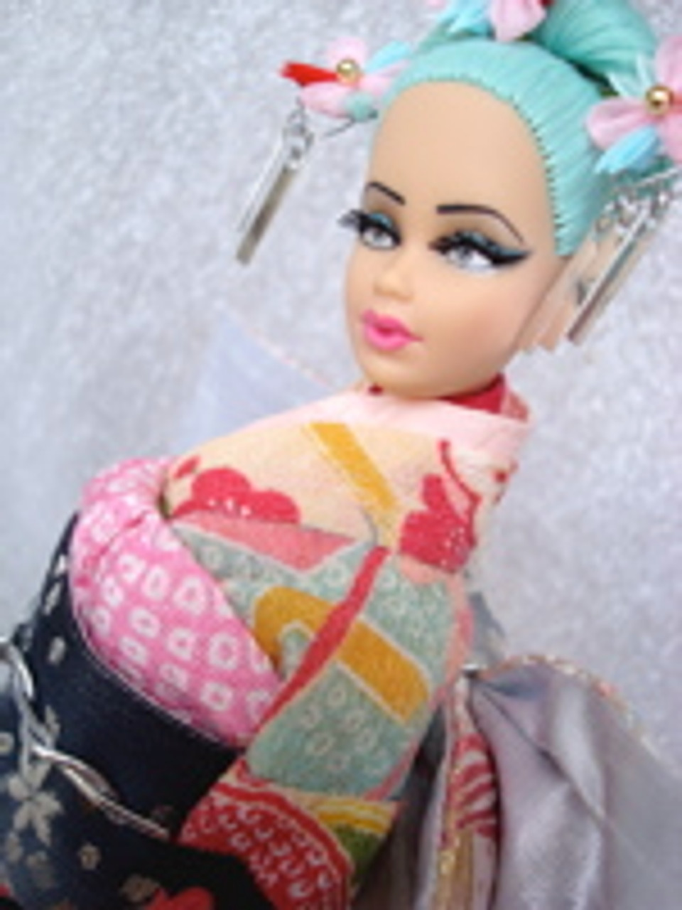 Sky Blue 35 KatSilk Saran Doll Hair
