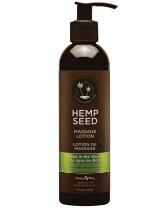 Earthly Body Hemp Seed Massage Lotion - Naked In The Woods - 8 Oz
