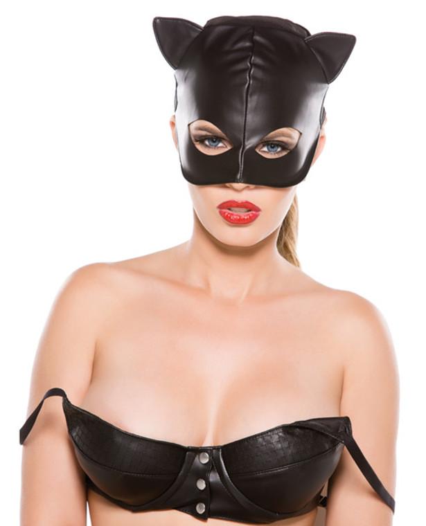 Faux Leather Cat Mask - Black