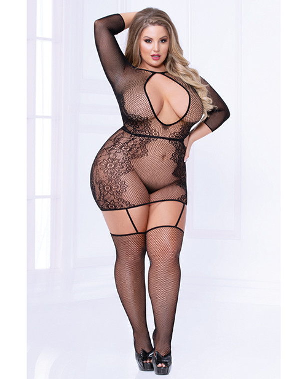 Seamless Floral Pattern Bodystocking Dress (thong Not Included) Black - Queen Size