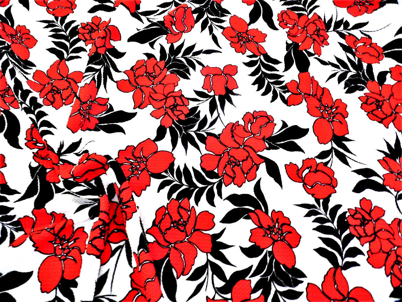 122bf94175 Bullet Printed Liverpool Textured Fabric 4 way Stretch Scuba Floral Red  Black K501