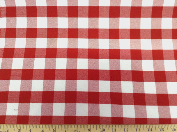 Discount Fabric Upholstery Drapery Twill Red and White Check DR19