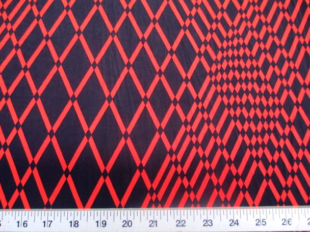 Discount Fabric Printed Jersey Knit ITY Stretch Red Orange Geometric Diamonds C201