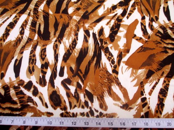 Discount Fabric Printed Jersey Knit ITY Stretch Big Cat Stripe Burnt Orange E301
