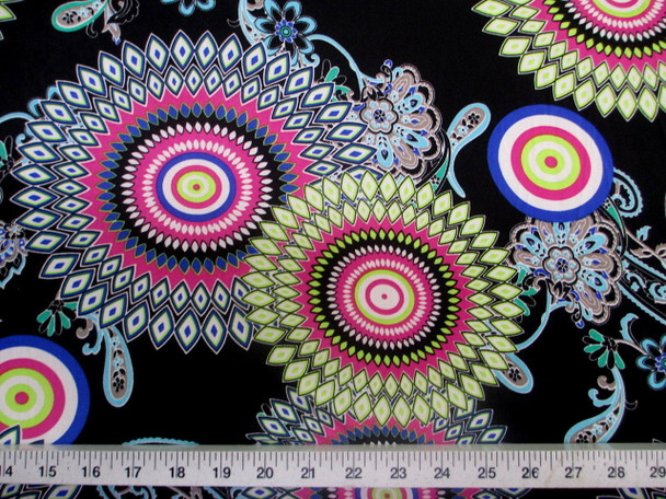 Discount Fabric Printed Jersey Knit ITY Stretch Sunflower Lime Pink and Blue D402