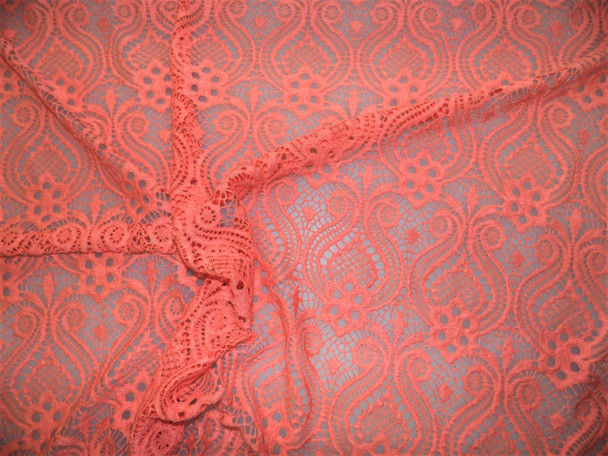 Discount Fabric Stretch Mesh Lace Coral Pink Embroidered Fleuron Bulb Sheer B700