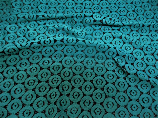 Discount Fabric Stretch Mesh Lace Black Teal Embroidered Circles Sheer D504