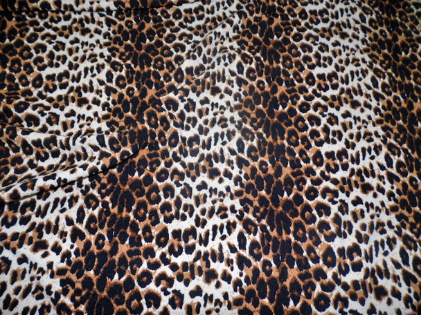 Fabric Printed Liverpool Textured 4 way Stretch Scuba Cheetah Taupe K200