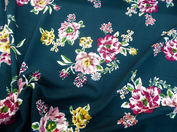 Bullet Printed Liverpool Textured Fabric 4 way Stretch Mauve Burgundy Green Floral K203