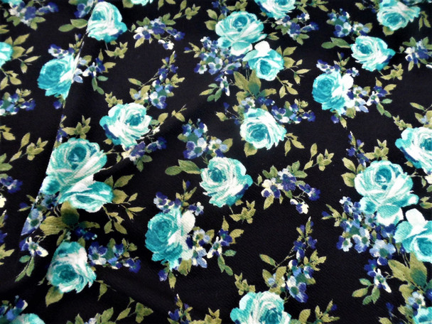 Fabric Printed Liverpool Textured 4 way Stretch Turquoise Navy Green Floral K702