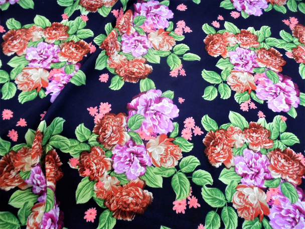 Fabric Printed Liverpool Textured 4 way Stretch Lilac Rusty Red Floral H403