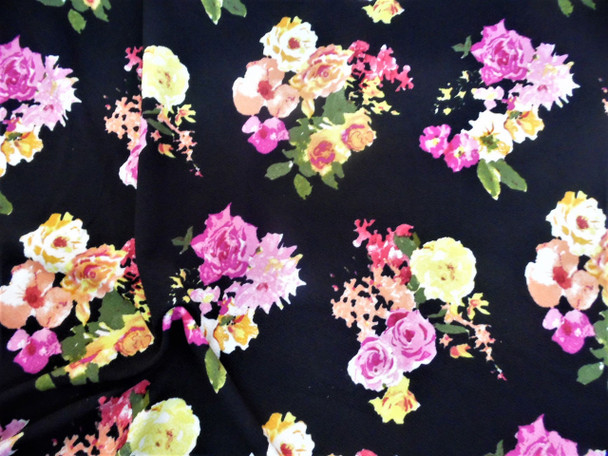 Fabric Printed Liverpool Textured 4 way Stretch Pink Peach Yellow Floral H301