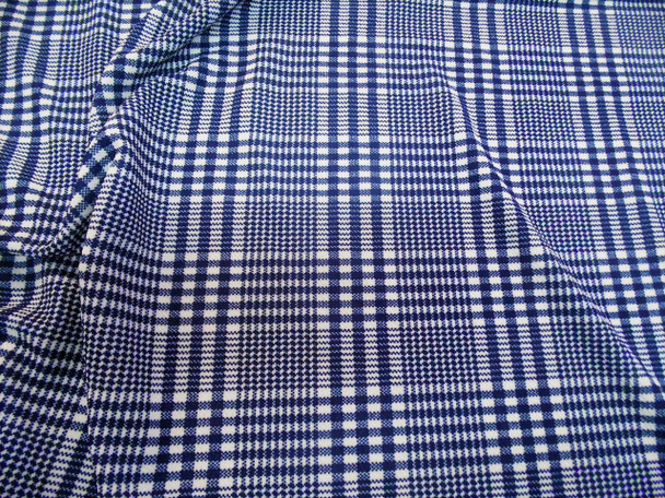Fabric Printed Liverpool Textured 4 way Stretch Scuba Glen Plaid Navy White H303