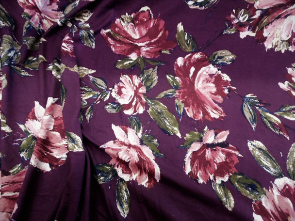 Discount Fabric Printed Spandex 4 way Stretch Burgundy Pink Floral B305